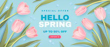 Spring Special Offer Vector Banner Background With Spring Season Sale Text And Tulip Flowes. Can Be Used For Web Banners, Wallpaper, Flyers, Voucher Discount. Vector Illustration