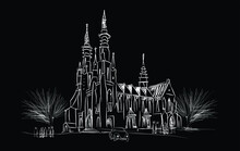 Digital Sketch Of The Jakarta Cathedral Church, Its Official Name Is The Church Of Santa Maria Raised To Heaven. Inaugurated In 1901 European Neo-gotic Style Church Architecture.
