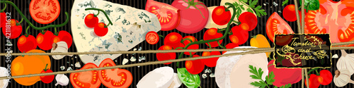 Fototapeta Tomatoes and cheese background. Varieties of tomato products, gourmet cheeses and verdure. Vector Illustration obraz