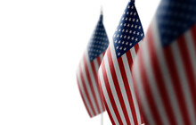 Small National Flags Of The United States On A White Background