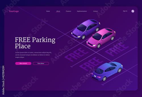 Fotografie, Obraz Vector landing page of free parking place