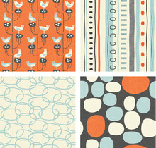 Coordinating Set Of Trendy Retro Spring Patterns With Birds, Abstract Shapes, Dots And Stripes. For Fabric, Decor, Backgrounds.