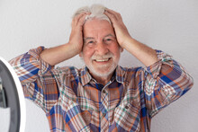 Influencer Happy But Desperate For Too Much Work - Attractive Old Man With White Hair And Beard