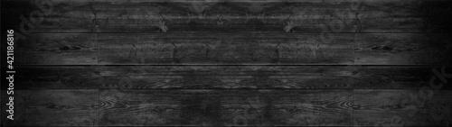 Fototapeta old black grey rustic dark wooden texture - wood background panorama long banner obraz