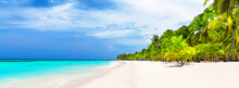 Panorama Of White Sandy Beach With Coconut Palm Trees In Caribbean Sea, Dominican Republic.