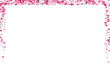 Pink Pretty Circle Background. Red Decorative Texture. Confetti Rain Illustration. Rose Star Border.