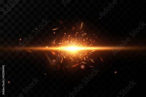 Fototapeta Burning fiery sparks. Sparks of fire.Vector.