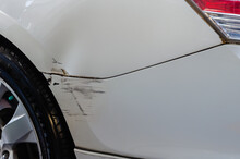 Abrasive Car Of The Car Was Hit By A Road Accident.