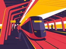 On A Station Platform. Vector Illustration On The Subject Of Train, Tram, Subway Ride