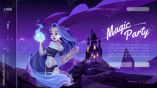 Obraz na plátne Magic banner with mystic girl in night forest