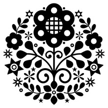 Polish Folk Art Vector Round Design With Flowers Inspired By Traditional Highlanders Embroidery Lachy Sadeckie - Black And White Bohemian Pattern