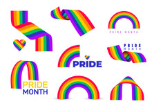 Set Of Rainbow Icon. LGBT Related Symbol In Rainbow Colors. Gay Pride. Rainbow Community Pride Month. Logo Design Love, Freedom Symbol. Vector Illustration. Isolated On White Background.