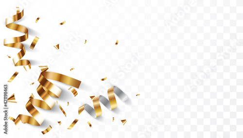 Canvas Gold confetti background, isolated on transparent background