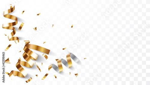 Gold confetti background, isolated on transparent background Fototapet
