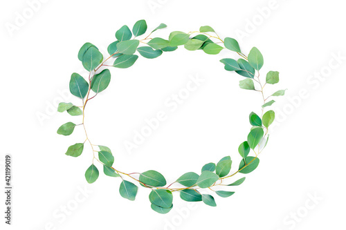 Fototapeta Floral oval frame, eucalyptus leaves on white background. Wreath made of eucalyptus branches. Flat lay, top view with copyspace for text. Minimal botanical design obraz