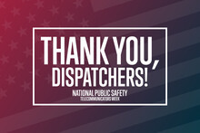 National Public Safety Telecommunicators Week. Second Week In April. Holiday Concept. Template For Background, Banner, Card, Poster With Text Inscription. Vector EPS10 Illustration.