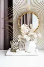 Beautiful White Home Interior Decoration With Vases And Mirror