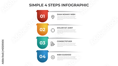Fotografia Colorful 4 points of steps diagram with simple design, infographic template vector
