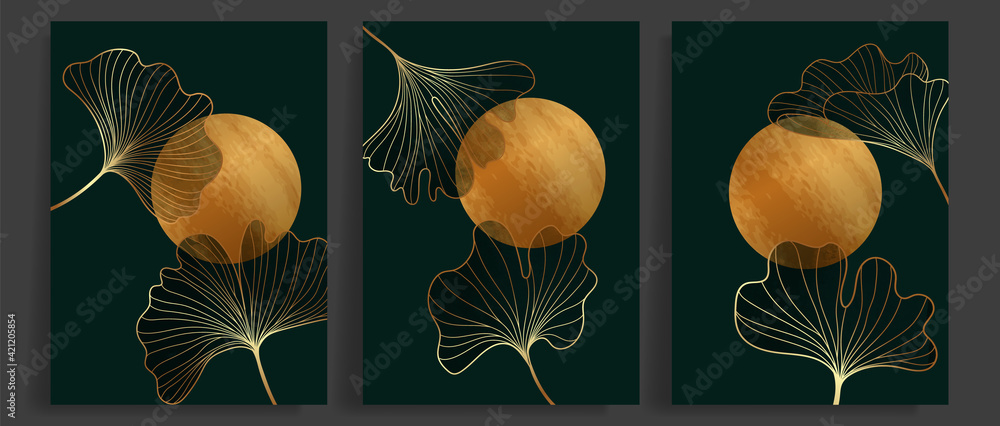 Fototapeta Golden Ginkgo leaves botanical modern abstract art background vector. Floral Line arts wallpaper design for Luxury elegant wall art ,interior design,prints and cover template.