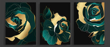 Luxury Gold And Dark Green Rose Abstract Line Art Background Vector. Wall Art Design With Emerald And Gold Texture. Vector Illustration