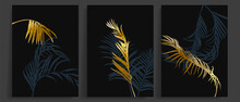 Gold Forest  Wall Art Background Vector.  Palm And Tropical Leaf Black And Golden Texture Wallpaper. Design For Wall Decoration, Cover, Prints, Social Media Stories Background, Poster And Home Decor.