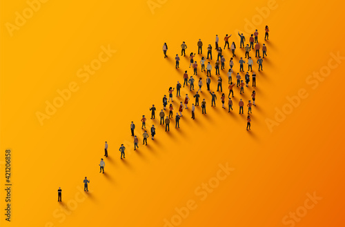 Tablou Canvas Large group of people in the shape of an arrow. Business concept.