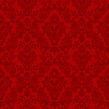 Damask Seamless Vector Pattern. Classic Vintage Damask Ornament, Royal Victorian Geometric Seamless Pattern For Wallpaper, Textile, Packaging. Floral Baroque Pattern, Red Background