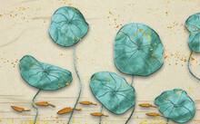 3d Illustration, Large Green Leaves Of A Water Lily On A Beige Background With Golden Spots