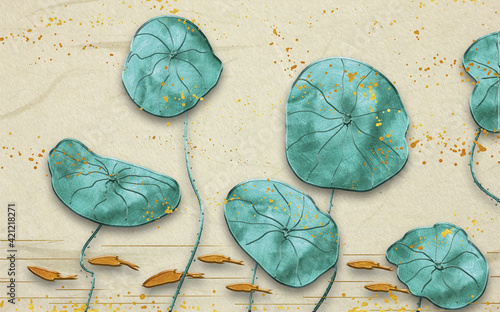 Fotografie, Obraz 3d illustration, large green leaves of a water lily on a beige background with g