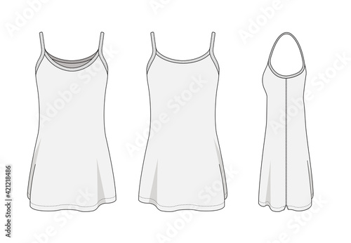 Canvas Print Woman long camisole dress template vector illustration
