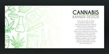 Cannabis Banner Doodle. Marijuana Background Hand Drawn. Smoke Icons Illustration. Vector Horizontal Design.