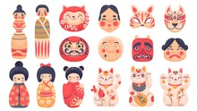 Japanese Traditional Toys. Daruma, Kokeshi Dolls, Maneki Neko Lucky Cat And Mask From Japan. Cute Cartoon Asian Culture Symbols Vector Set