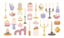 Candles In Candlesticks. Vintage Old Candelabras And Modern Candlestick. Decorative Burning Candle In Holder. Candlelight Flame Vector Set