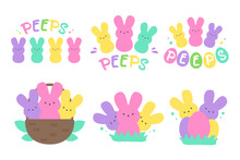 Easter Peeps. Simple Rabbit Vector Various Colors Made From Candy And Marshmallows. For Celebrating Easter.
