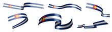 Set Of Holiday Ribbons. Flag Of American State Of Colorado Waving In Wind. Separation Into Lower And Upper Layers. Design Element. Vector On White Background