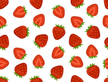 Flat Strawberry Seamless Pattern. Appetizing Fresh Strawberry Vector Endless Background. Whole And Cut In Half.