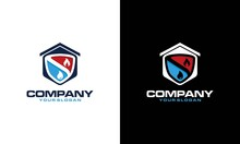 Heating And Air Conditioning House Logo Template Design. Heating, Ventilation, And Air Conditioning, Hvac Systems. Construction, Repair And Installation Of Air Conditioners And Ventilation