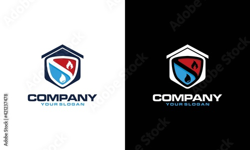 Fototapeta Heating and Air Conditioning House Logo Template Design. Heating, ventilation, and air conditioning, hvac systems. Construction, repair and installation of air conditioners and ventilation obraz