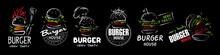 Hand Drawn Set Of Vector Burger Logos On Black Background
