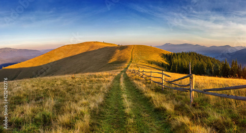 Fototapeta The road in the mountains. Travel in the summer Carpathians. obraz