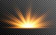 Golden light. A flash of light, a magical glow. Sun, sun rays png. Light png. Vector image.