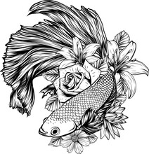 Draw In Black And White Of Fish Betta Splendens With Flowers Vector Illustration