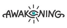 Awakening Logo Design With Open Eye Egyptian Style. Print. Vector Illustration