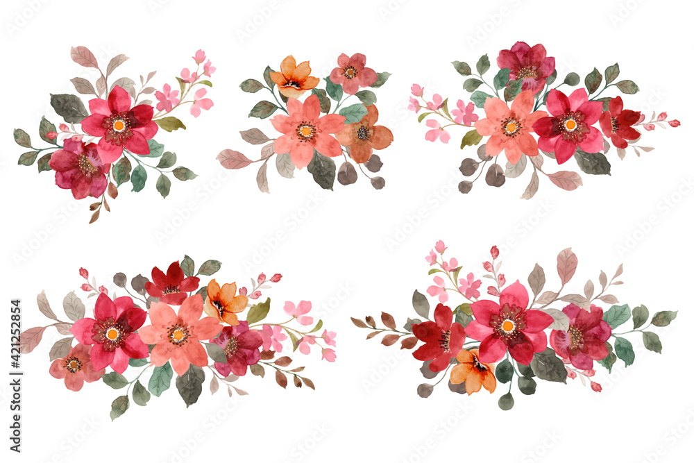 Fototapeta Red and brown flower bouquet set with watercolors