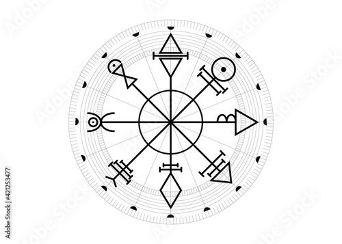 Vegvisir compass mystical Characters of Venus amulet Fototapet