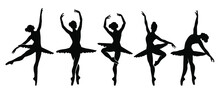 Beautiful Set Of Ballerinas. Ballet Dancing Silhouettes.