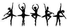 Beautiful Set Of Ballerinas. Ballet Dancing Silhouettes.