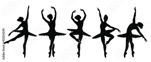 Canvas-taulu Beautiful set of ballerinas. Ballet Dancing Silhouettes.