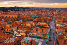 Aerial View Of Bologna, Italy At Sunset. Colorful Sky Over The Historical City Center