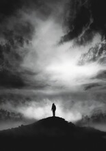 Silhouette Man Standing Against Sky